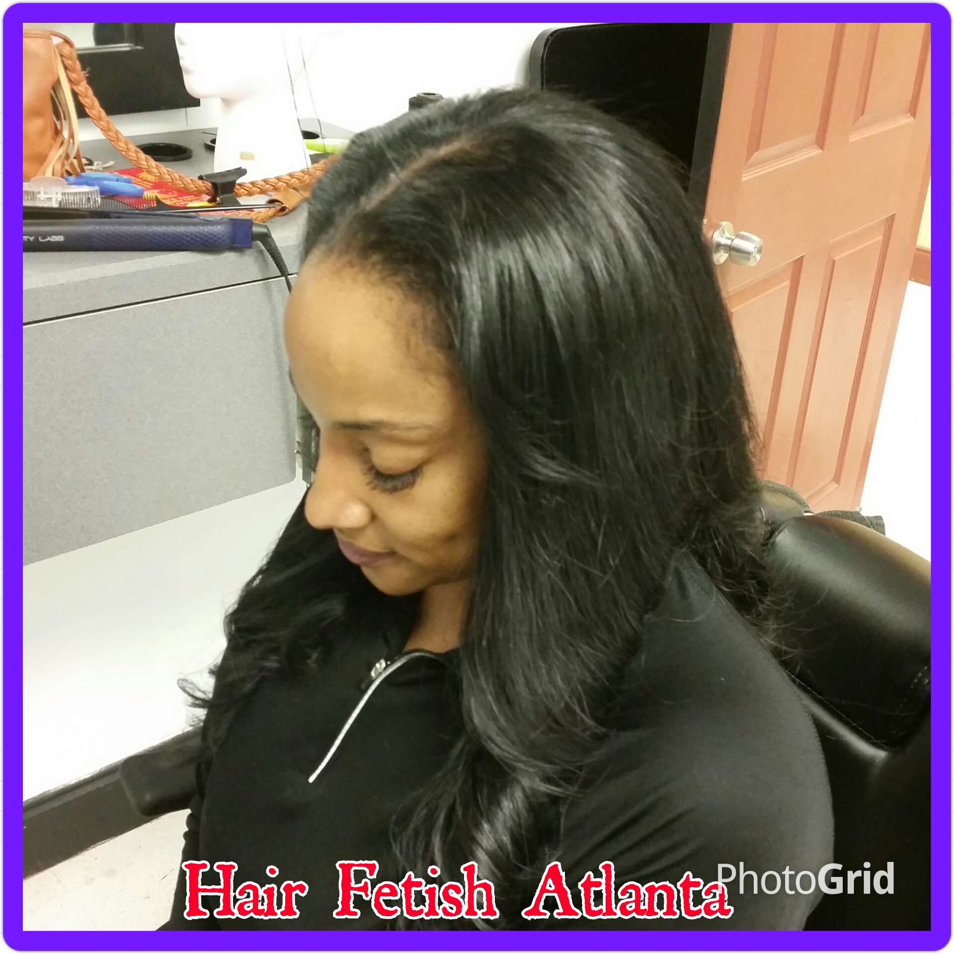 Jet Black Middle Part Sew In Hair Fetish Atlanta Salon