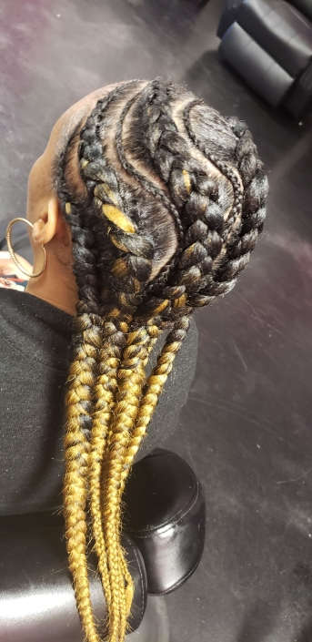 Feed In Braids With Blonde